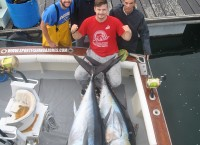The tuna master Alex with a 310 and a 240 pounds Bigeye tunas. May