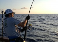 Miguel hooked on a 500 pounds blue marlin